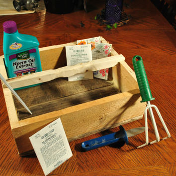 Wood Tray-Storage Tray-Plant Holder-Tool Organizer-Handmade Woodworking-Rustic-Reclaimed-Recycled- Primitive-