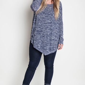 Plus Size Asymmetrical Knit Top