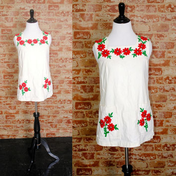 Vintage 1960s White cotton FLORAL Embroidered Metal Zipper HIPPIE Boho Tank Tunic with Pocket