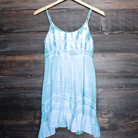 tie dye for flowy mini dress | aqua