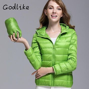 GODLIKE Women's Pure Color Trendy Winter Spring Fashion Ultralight Jacket