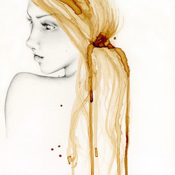 "She's ""So Far Away"" Art Print of my Original Pencil Drawing Illustration with Coffee Staining Painting Beautiful Women Brown Gold Art"