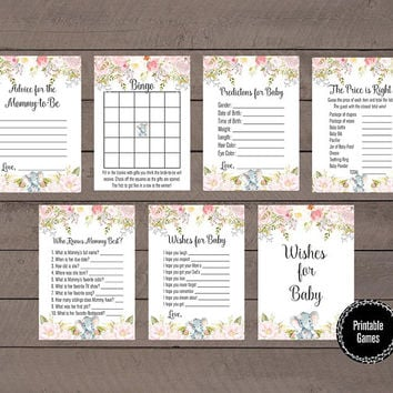 Watercolor Floral Baby Shower Games, 7 Piece Baby Shower Game Package, Printable Games, Girl Baby Shower Pink Gold, Floral Baby Shower Games