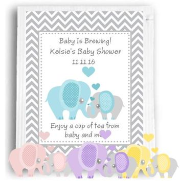 10 Elephant Theme Baby Shower and Birthday Party Tea Favors