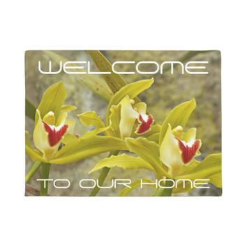 Green Cymbidium Orchids Floral Welcome Doormat