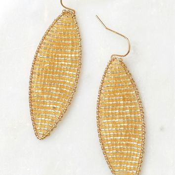 Pointed Oval Beaded Drop Earrings Gold