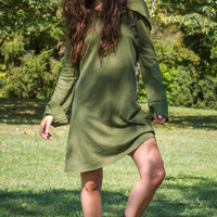 Hand Dyed in Solid Green Hooded Dress with Extra Long Sleeve