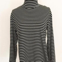 Knitted Striped Turtleneck Top