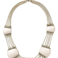 Snow White Gem and Chain Statement necklace