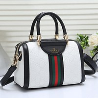 GUCCI Women Fashion Leather Tote Crossbody Shoulder Bag