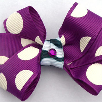 purple polka dot hair bow- back to school accessories- zebra print