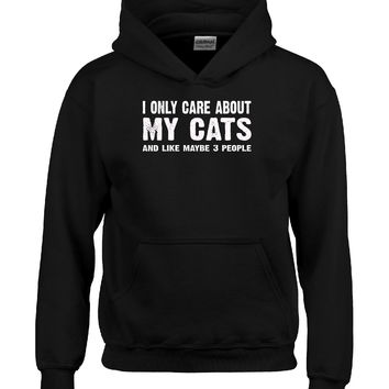 I Only Care About My Cats And Maybe 3 People Funny Novelty - Hoodie