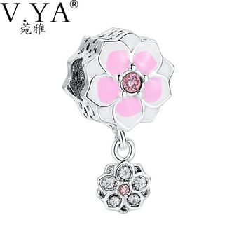 V.YA Lovely DIY Accessories Charms fit for Pandora Bracelets Sweet Beads Daisy Flower Pendant Beads Fit Women Bracelets Jewelry