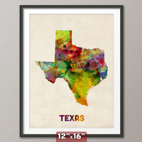 Texas Watercolor Map USA, Art Print 12x16 inch (347)