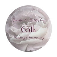 Pink Rose Paper Plates, 65th Wedding Anniversary Paper Plate
