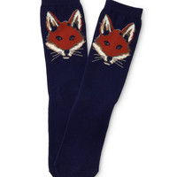 Aeropostale Womens Fox Crew Socks - Blue, 9-11