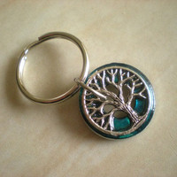 Keychain: Tree of Life - Peacock Blue - Key Ring - Keyring - Key chain - Tree Keychain - Fantasy Keychain - Free Shipping Worldwide