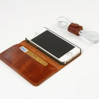 Handmade Leather Case for iPhone 4s 5 5s - Leather iPhone Case Sleeve with Wallet Bag & Card Holder