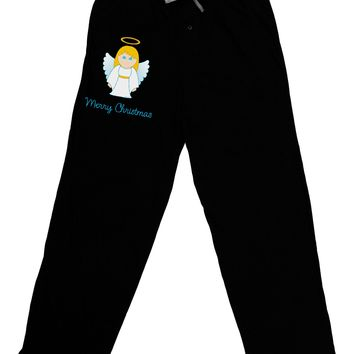 Merry Christmas Cute Angel Girl Adult Lounge Pants - Black
