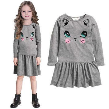 New listed baby girl clothes spring autumn casual hello kitty girl dress children clothing high quality cotton princess dress