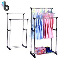 Clothes Garment Hanging Rack Rolling Metal Adjustable Coat Shoes Organizer Display