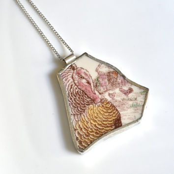 Broken Plate Pendant on Chain - Thanksgiving Turkey - Recycled China