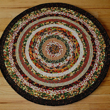 Rugs, Rug, Rope Rug, Round Rug, Round Rope Rug, Fabric Covered Rope, Home Decor, Handmade, Autumn Rug, Kitchen Rug, Accent Rug, Circle