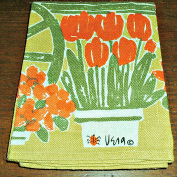 Vera Neumann Towel 1966 Ladybug Flower Cart Vintage Mid Century Kitchen Decor Calendar
