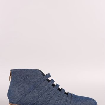 Denim Caged Pointy Toe Booties