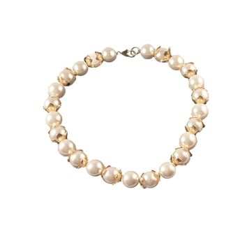 Large Pearl Choker Necklace, Gold Floral Spacer Beads, 16""