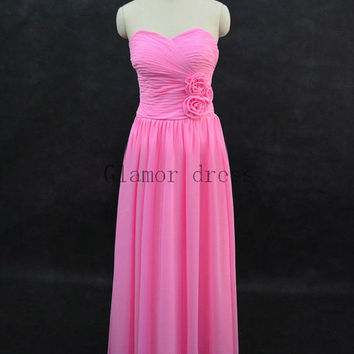 custom pink sweetheart 3D flower bridesmaid dresses   long chiffon zipper back gowns for wedding prom    cheap elegant bridesmaid dress hot