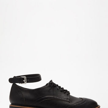Faux Leather Ankle-Strapped Oxfords