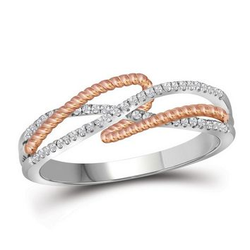 10kt White Gold Womens Round Diamond Rope Infinity Band Ring 1/6 Cttw