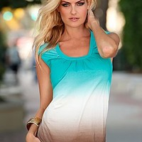 Turquoise Multi (TQMU) Banded Bottom Ombre Top