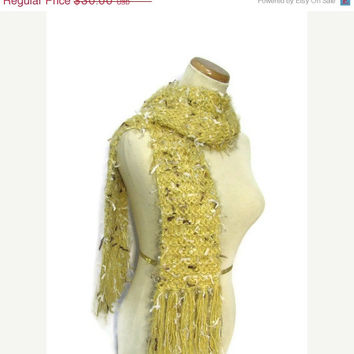 On Sale Sale Dijonaise Hand Knit Scarf, Yellow Scarf, Knit Scarf, Winter Scarf, Womens Scarf, Fashion Scarf, Gold