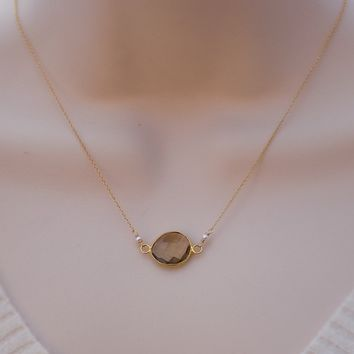 Faceted Bear Quartz stone in 22k Gold Vermeil Necklace with Freshwater White Pearls