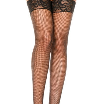 Fishnet Thigh Highs with Silicon Lace Top