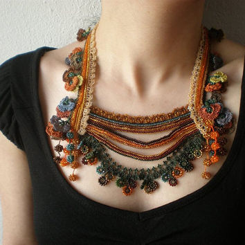 Primula Hortensis Beaded Crochet Necklace by irregularexpressions