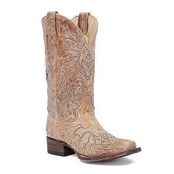 Corral Cross and Rhinestone Leather Boots A2836