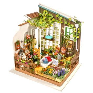 Dollhouse diy kit Garden porch with led lights DG108