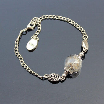 New Dandelion Wish glass ball vintage Silver Chain Charm Bracelet Jewelry = 1946120452