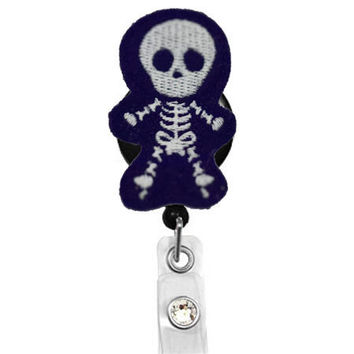 Skully Skeleton-Glow in the Dark Badge-Nurses Badge Holder - Cute Badge Reels - Unique  ID Badge Holder - Felt Badge - RN Badge Reel
