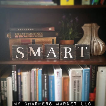 Smart Sign, Smart Art, Smart Tile Letters, Smart Wall Decor, Wooden Letter Blocks, Wood Letter Tiles, Shabby Chic Smart Sign Set, Gift Idea