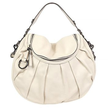 35278 auth GUCCI off-white leather ICON BIT Shoulder Bag Hobo