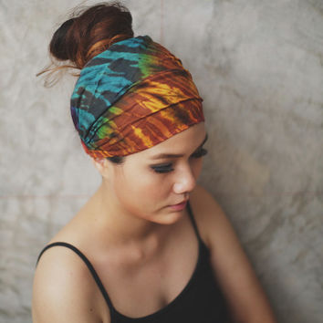 Bronze & Teal Green  - Hippie Elastic Bandana  ,100% Hand-dyed , Hair wrap, tie dye headband