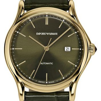 Men's Emporio Armani Swiss Made Automatic Strap Watch, 42mm - Olive/ Gold