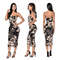 Floral Black Tube Slim Dress