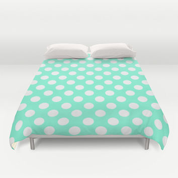 Tiffany Polka Dot Pattern Duvet Cover by RexLambo