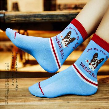 Women Size 1lot=5pairs Animal Ankle Socks Pile Loop Bulldog French Terrier Human Friend  Terry Towel Cartoon Dog Combed Cotton