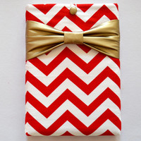 "Macbook Pro 15 Sleeve MAC Macbook 15"" inch Laptop Computer Case Cover Red & White Chevron with Yellow Bow"